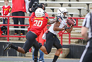 College Park, MD - April 22, 2017: Maryland Terrapins wide receiver D.J. Moore (1) catches a touchdown during game the Maryland Spring Game at  Capital One Field at Maryland Stadium in College Park, MD.  (Photo by Elliott Brown/Media Images International)