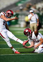 NWA Democrat-Gazette/CHARLIE KAIJO Arkansas Razorbacks place kicker Connor Limpert (19) practices extra point kicks before a football game, Saturday, September 8, 2018 at Colorado State University in Fort Collins, Colo.