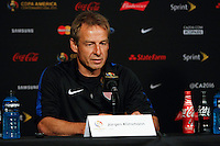 Glendale, AZ - Friday June 24, 2016: United States (USA) manager Jurgen Klinsmann during a press conference prior to the third place match of the Copa America Centenario at the University of Phoenix Stadium.<br /> <br /> Photo during the Conference of the United States team before the game against the selection of Colombia for third place in the Copa America Centenario 2016 at University of Phoenix Stadium<br /> <br /> Foto durante la Conferencia de la Seleccion de Estados Unidos previo al partido contra la Seleccion de Colombia por el tercer lugar de la Copa America Centenario 2016, en el Estadio de la Universidad de Phoenix, en la foto: Jurgen Klinsmann DT de USA<br /> <br /> 24/06/2016/MEXSPORT/Victor Posadas.