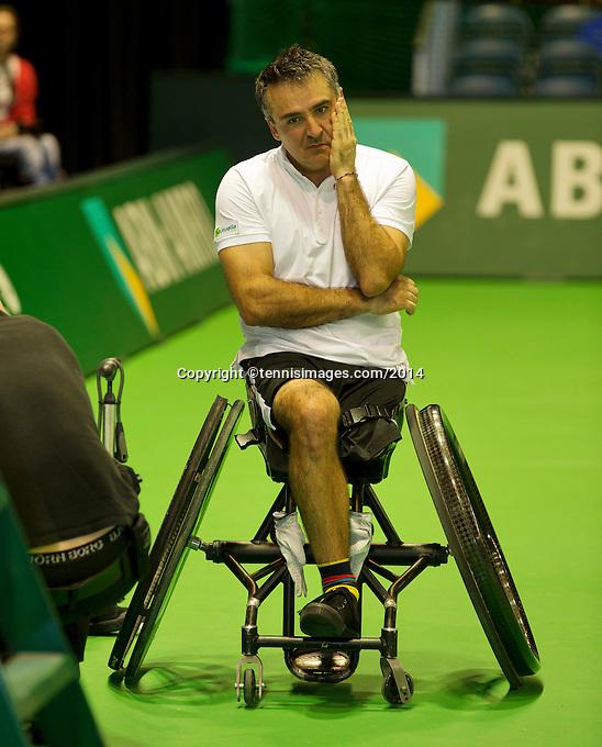 Rotterdam, The Netherlands. 15.02.2014. Stephane Houdet(FRA) at the ABN AMRO World Wheelchair tennis Tournament<br /> Photo:Tennisimages/Henk Koster