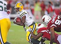 Aug. 28, 2009; Glendale, AZ, USA; Green Bay Packers running back (32) Brandon Jackson against the Arizona Cardinals during a preseason game at University of Phoenix Stadium. Mandatory Credit: Mark J. Rebilas-