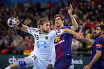 VELUX EHF 2017/18 EHF Men's Champions League Group Phase - Round 11.<br /> FC Barcelona Lassa vs HC Vardar: 29-28.<br /> Luka Cindric vs Viran Morros.