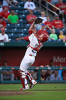 Springfield Cardinals catcher Mike Ohlman (25) gets under a foul popup during a game against the Frisco RoughRiders  on June 4, 2015 at Hammons Field in Springfield, Missouri.  Frisco defeated Springfield 8-7.  (Mike Janes/Four Seam Images)