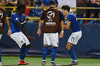 Federico Chiesa of Italy celebrates with Moise Kean after scoring the goal of 1-1 <br /> Bologna 16-06-2019 Stadio Renato Dall'Ara <br /> Football UEFA Under 21 Championship Italy 2019<br /> Group Stage - Final Tournament Group A<br /> Italy - Spain <br /> Photo Matteo Gribaudi / Image / Insidefoto