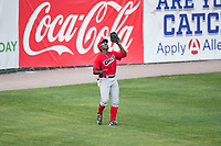 Orem Owlz left fielder Johan Sala (25) prepares to catch a fly ball during a Pioneer League game against the Missoula Osprey at Ogren Park Allegiance Field on August 19, 2018 in Missoula, Montana. The Missoula Osprey defeated the Orem Owlz by a score of 8-0. (Zachary Lucy/Four Seam Images)