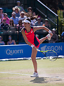 June 18th 2017, Nottingham, England; WTA Aegon Nottingham Open Tennis Tournament day 7 finals day;  Johanna Konta of Great Britain serving in the final against Donna Vekic of Croatia