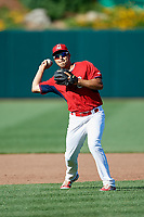 Springfield Cardinals Alex Mejia (7) during practice before a game against the Corpus Christi Hooks on May 30, 2017 at Hammons Field in Springfield, Missouri.  Springfield defeated Corpus Christi 4-3.  (Mike Janes/Four Seam Images)