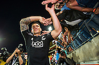 Sonny Bill Williams thanks fans after the New Zealand All Blacks Sevens cup final victory on Day Two during the 2016 HSBC Wellington Sevens at Westpac Stadium, Wellington, New Zealand on Sunday, 31 January 2016. Photo: Joseph Johnson / lintottphoto.co.nz
