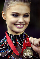 September 27, 2003; Budapest, Hungary; Rhythmic gymnastic star ALINA KABAEVA of Russia wins Gold in  All-Around title at 2003 World Championships.<br />