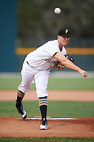 GCL Pirates starting pitcher Nick Kingham (24) delivers a warmup pitch during a game against the GCL Phillies on August 6, 2016 at Pirate City in Bradenton, Florida.  GCL Phillies defeated the GCL Pirates 4-1.  (Mike Janes/Four Seam Images)