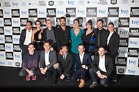 Actors HUGO SILVA, MEGAN MONTANER, ELIO GONZALEZ, RICARD SALES, JUAN CODINA, ENRIQUE ARCE, MIRIAM BENOIT, LUCIA ALVAREZ, VICTOR PALMERO and DAVID MARQUES pose at `Dioses y perros´ film premiere photocall in Madrid, Spain. October 07, 2014. (ALTERPHOTOS/Victor Blanco) /nortephoto.com