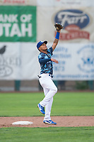 Ogden Raptors second baseman Jeremy Arocho (8) during a Pioneer League game against the Billings Mustangs at Lindquist Field on August 17, 2018 in Ogden, Utah. The Billings Mustangs defeated the Ogden Raptors by a score of 6-3. (Zachary Lucy/Four Seam Images)