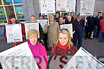 Catherine Dolan and Barbera O'Grady among the protesters against the Budget cuts outside the AIB bank in Castle street on Tuesday.