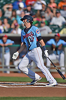Tennessee Smokies third baseman Kris Bryant #17 swings at a pitch during a game against the Birmingham Barons at Smokies Park on May 31, 2014 in Kodak, Tennessee. The Barons defeated the Smokies 2-1. (Tony Farlow/Four Seam Images)