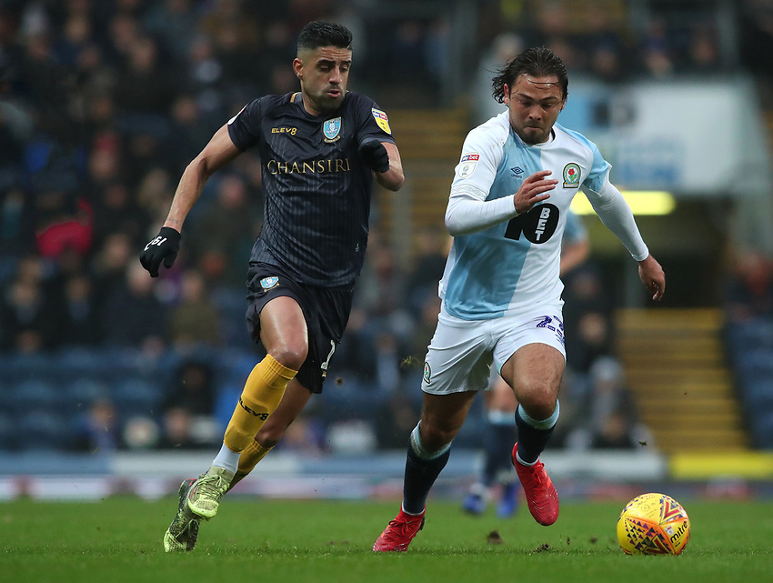 Sheffield Wednesdays' Marco Andre and Blackburn Rovers' Bradley Dack<br /> <br /> Photographer Rachel Holborn/CameraSport<br /> <br /> The EFL Sky Bet Championship - Blackburn Rovers v Sheffield Wednesday - Saturday 1st December 2018 - Ewood Park - Blackburn<br /> <br /> World Copyright © 2018 CameraSport. All rights reserved. 43 Linden Ave. Countesthorpe. Leicester. England. LE8 5PG - Tel: +44 (0) 116 277 4147 - admin@camerasport.com - www.camerasport.com