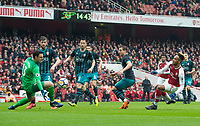 Arsenal's Pierre - Emerick Aubameyang scoring first goal during the EPL - Premier League match between Arsenal and Southampton at the Emirates Stadium, London, England on 8 April 2018. Photo by Andrew Aleksiejczuk / PRiME Media Images.