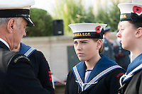 Pictured: Young female cadets at the service Friday 11 November 2016<br /> Re: Remembrance Day service at the Cenotaph in Swansea, south Wales, UK.