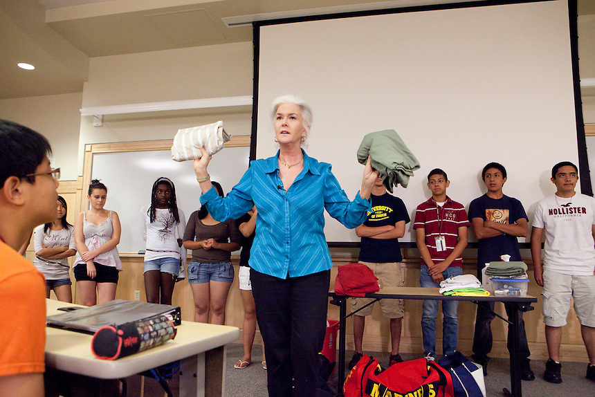 Heloise talks to students at the Honors Summer Math Camp at Texas State University in San Marcos, Texas about living away from home.  July 14, 2009.