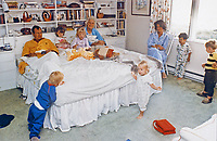 United States Vice President George H.W. Bush and Mrs. Barbara Bush enjoy some early morning fun with their grandchildren (l to r: Pierce, Barbara, Jenna, Marshall, Margaret Bush, Jeb Jr., and Sam), at Walker's Point, Kennebunkport, Maine on August 22, 1987<br /> CAP/MPI/RS<br /> &copy;RS/MPI/Capital Pictures