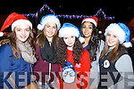 Welcoming Santa and Mrs Claus to Kenmare on Saturday evening were l-r: Eimear Palmer, Tamara Arsenic, Aobha O'Shea, Adriana Drapa-Kova and Katia Cimpoles