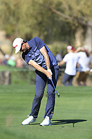 Keegan Bradley (USA) plays his 2nd shot on the 9th hole during Saturday's Round 3 of the Waste Management Phoenix Open 2018 held on the TPC Scottsdale Stadium Course, Scottsdale, Arizona, USA. 3rd February 2018.<br /> Picture: Eoin Clarke | Golffile<br /> <br /> <br /> All photos usage must carry mandatory copyright credit (&copy; Golffile | Eoin Clarke)