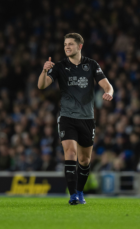 Burnley's James Tarkowski<br /> <br /> Photographer David Horton/CameraSport<br /> <br /> The Premier League - Brighton and Hove Albion v Burnley - Saturday 9th February 2019 - The Amex Stadium - Brighton<br /> <br /> World Copyright &copy; 2019 CameraSport. All rights reserved. 43 Linden Ave. Countesthorpe. Leicester. England. LE8 5PG - Tel: +44 (0) 116 277 4147 - admin@camerasport.com - www.camerasport.com
