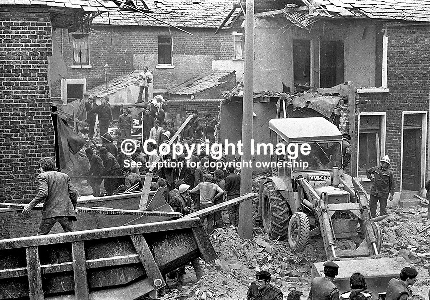 Scene of explosion in Clonard Street, Lower Falls district, Belfast, in which 4 members of the Provisional IRA died whilst making bombs. The house was completely demolished. Several passers-by were also injured in the blast. NI Troubles. Ref: 19720309001.<br /> <br /> Copyright Image from Victor Patterson, 54 Dorchester Park, Belfast, UK, BT9 6RJ<br /> <br /> t1: +44 28 9066 1296 (from Rep of Ireland 048 9066 1296)<br /> t2: +44 28 9002 2446 (from Rep of Ireland 048 9002 2446)<br /> m: +44 7802 353836<br /> <br /> e1: victorpatterson@me.com<br /> e2: victorpatterson@gmail.com<br /> <br /> www.victorpatterson.com<br /> <br /> IMPORTANT: Please see my Terms and Conditions of Use at www.victorpatterson.com