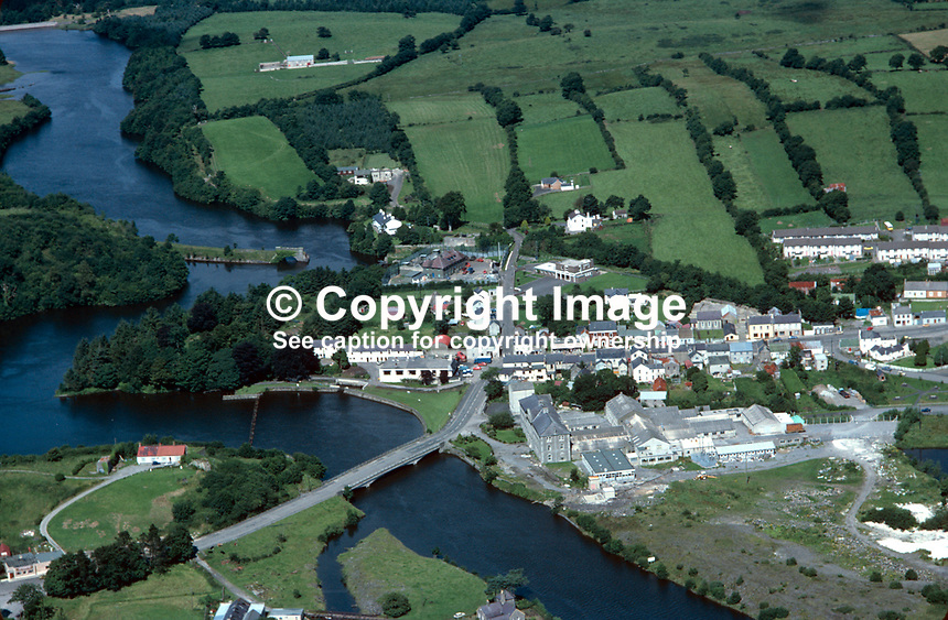 Aerial view, Belleek, Co Fermanagh, N Ireland, UK, 19790159a..Copyright Image from Victor Patterson, 54 Dorchester Park, Belfast, UK, BT9 6RJ..Tel: +44 28 9066 1296.Mob: +44 7802 353836.Voicemail +44 20 8816 7153.Skype: victorpattersonbelfast.Email: victorpatterson@me.com.Email: victorpatterson@ireland.com (back-up)..IMPORTANT: If you wish to use this image or any other of my images please go to www.victorpatterson.com and click on the Terms & Conditions. Then contact me by email or phone with the reference number(s) of the image(s) concerned.
