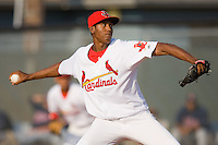 Starting pitcher Angel DeJesus #21 of the Johnson City Cardinals in action against the Elizabethton Twins at Howard Johnson Field July 3, 2010, in Johnson City, Tennessee.  Photo by Brian Westerholt / Four Seam Images