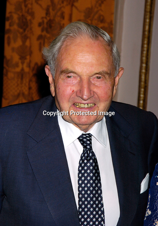 David Rockefeller ..at the United Nations Association of the USA Global Leadership Awards Dinner on September 30, 2004 at the ..Waldorf Astoria. Oprah Winfrey was honored with the ..International Philanthropist, Global Media Leader. ..Photo by Robin Platzer, Twin Images