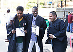 WATERBURY, CT- 21 June  2017-062117CM02- Left to right, Waterbury Arts Magnet School graduates Anijah Brathwaite, Brandon Amao and Seth Medina<br />  have a laugh during commencement exercises at the Palace Theater in Waterbury on Wednesday.  Christopher Massa Republican-American