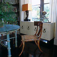 A juxtaposition of old and new in this view of the dining room where each item is in harmony