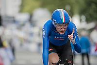 Elena Pirrone (ITA) is the 2017 Junior Women's iTT World Champion and realises it as soon as she crosses the finish line<br /> <br /> Women Junior Individual Time Trial<br /> <br /> UCI 2017 Road World Championships - Bergen/Norway