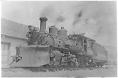 Fireman's side view of K-27 #464 at Ridgway depot.<br /> RGS  Ridgway, CO