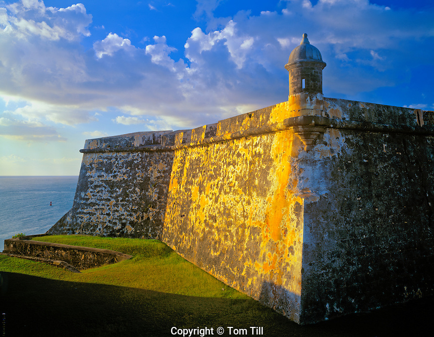 Walls of El Morro, San Juan National Historic site, San Juan, Puerto Rico, 16th century Spanish fort,  Oldest European building in the United States