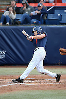 Ruben Cardenas #4 of the Cal State Fullerton Titans bats against the Stanford Cardinal at Goodwin Field on February 19, 2017 in Fullerton, California. Stanford defeated Cal State Fullerton, 8-7. (Larry Goren/Four Seam Images)