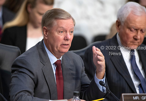 United States Senator Lindsey Graham (Republican of South Carolina) questions Judge Brett Kavanaugh who is giving testimony before the United States Senate Judiciary Committee on his nomination as Associate Justice of the US Supreme Court to replace the retiring Justice Anthony Kennedy on Capitol Hill in Washington, DC on Thursday, September 6, 2018. <br /> Credit: Ron Sachs / CNP<br /> (RESTRICTION: NO New York or New Jersey Newspapers or newspapers within a 75 mile radius of New York City)