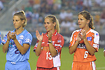 Nancy Augustyniak (25), Heather Mitts (13), and Brandi Chastain (6) at SAS Stadium in Cary, North Carolina on 6/18/03 during the 2003 WUSA All Star Skills Competition.