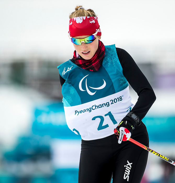PyeongChang 9/3/2018 - Emily Young, of Kelowna, BC, during a biathlon/cross country training session at the Alpensia Biathlon Centre during the 2018 Winter Paralympic Games in Pyeongchang, Korea. Photo: Dave Holland/Canadian Paralympic Committee
