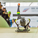 9 January 2016: Dean Timmings, competing for Australia, pushes off for his first and only start of the BMW IBSF World Cup Skeleton race at the Olympic Sports Track in Lake Placid, New York, USA. Timmings ended the day with a single run time of 57.33 for a 25th place overall finish and did not have a second run. Mandatory Credit: Ed Wolfstein Photo *** RAW (NEF) Image File Available ***