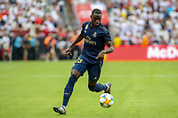 Landover, MD - July 23, 2019: Real Madrid Ferland Mendy (50) controls the ball during the match between Arsenal and Real Madrid at FedEx Field in Landover, MD.   (Photo by Elliott Brown/Media Images International)