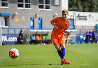 Teun Bijleveld (AZ Alkmaar) of Holland takes his penalty during the International match between England U19 and Netherlands U19 at New Bucks Head, Telford, England on 1 September 2016. Photo by Andy Rowland.