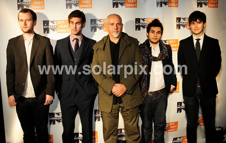 """**ALL ROUND PICTURES FROM SOLARPIX.COM**.**SYNDICATION RIGHTS FOR UK, SPAIN, PORTUGAL, AUSTRALIA, S.AFRICA & DUBAI (U.A.E) ONLY**.The musician Peter Gabriel Hosts Fourth Annual """"Focus for Change Witness"""" Benefit at the Roseland Ballroom in New York City in the USA. .This pic:Vampire Weekend, Peter Gabriel..JOB REF:7975-PHZ/Mark Dye   DATE:20-11- 08.**MUST CREDIT SOLARPIX.COM OR DOUBLE FEE WILL BE CHARGED* *UNDER NO CIRCUMSTANCES IS THIS IMAGE TO BE REPRODUCED FOR ANY ONLINE EDITION WITHOUT PRIOR PERMISSION*"""