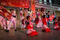 MEXICALI,  MEXICO - February 13. A group of folk Chinese dance perform on the Chinese New Year Bicultural Celebration on February 13, 2019 in Mexicali, Mexico.<br /> The relations between Mexico and the People's Republic of China begin at the beginning of the decade from 1910 until today, making Mexicali one of the cities with the largest Chinese population in the country. Establishing strong commercial and cultural ties with Mexico.<br /> (Photo by Luis Boza/VIEWpress)