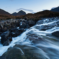 Waterfall and view towards Marsco and Red Cuillins, Sligachan, Isle of Skye, Scotland