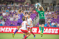 Orlando, FL - Saturday July 01, 2017: Rachel Hill, Sarah Gorden, Alyssa Naeher during a regular season National Women's Soccer League (NWSL) match between the Orlando Pride and the Chicago Red Stars at Orlando City Stadium.