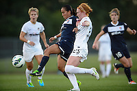 Sky Blue FC forward Monica Ocampo (8) is marked by Washington Spirit midfielder Victoria Huster (23). Sky Blue FC defeated the Washington Spirit 1-0 during a National Women's Soccer League (NWSL) match at Yurcak Field in Piscataway, NJ, on August 3, 2013.