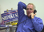 TV  SHIMKUS CALLS VOTERS.U.S. Congressman John Shimkus (R) calls prospective voters from the Madison County Republican Campaign headquarters located in Edwardsville, IL.  Shimkus voted in his hometown of Collinsville shortly after 8 am and then planned on making calls to voters for several hours..TIM VIZER/BELLEVILLE NEWS-DEMOCRAT  11/07/06