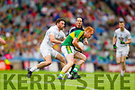 Johnny Buckley, Kerry in action against Fergal Conway, Kildare in the All Ireland Quarter Final at Croke Park on Sunday.