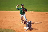 Farmingdale Rams second baseman Joshua Shapiro (9) throws to first base as Harrison Glatt (32) slides in during a game against the Union Dutchmen on February 21, 2016 at Chain of Lakes Stadium in Winter Haven, Florida.  Farmingdale defeated Union 17-5.  (Mike Janes/Four Seam Images)